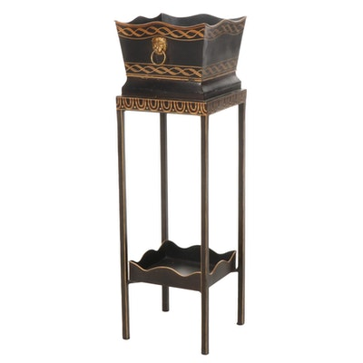 Ebonized and Parcel-Gilt Wood Plant Stand
