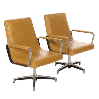 Pair of Chromcraft Contract Furniture Chrome and Vinyl Swivel Armchairs, 1960s