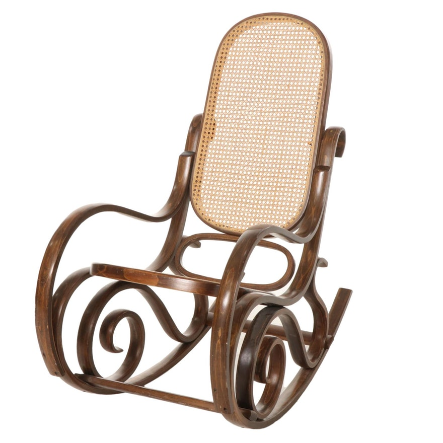 Thonet Style Bentwood and Cane Rocking Chair, Late 20th Century