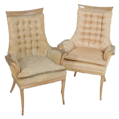 Near Pair of Blonde Wood Tufted Armchairs, Mid-20th Century