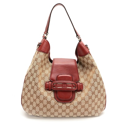 Gucci Dressage Hobo Bag in GG Canvas and Red Grained Leather
