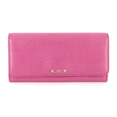 Fendi Continental Flap Wallet 8MO251 in Pink Textured Leather