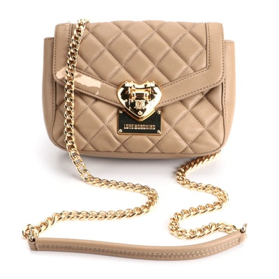 Love Moschino Quilted Crossbody in Tan Faux Leather