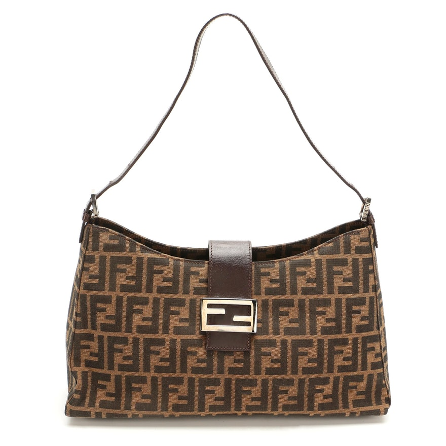 Fendi Shoulder Tote in Tobacco Zucca Canvas with Brown Leather Trim