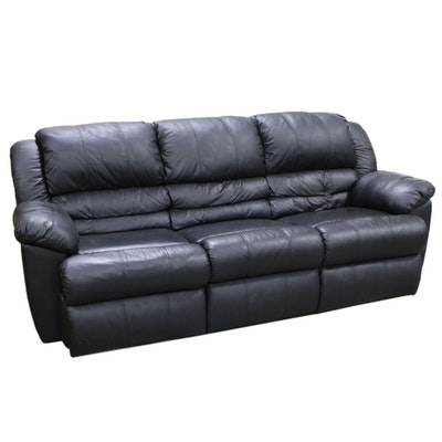 Contemporary Black Leather Reclining Sofa