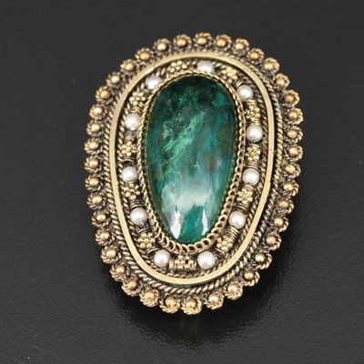 Israeli Sterling Eilat Stone and Faux Pearl Cannetille Converter Brooch