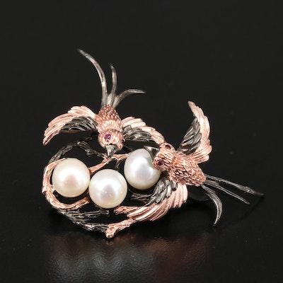 Sterling Pearl and Rhodolite Garnet Birds Nest Brooch