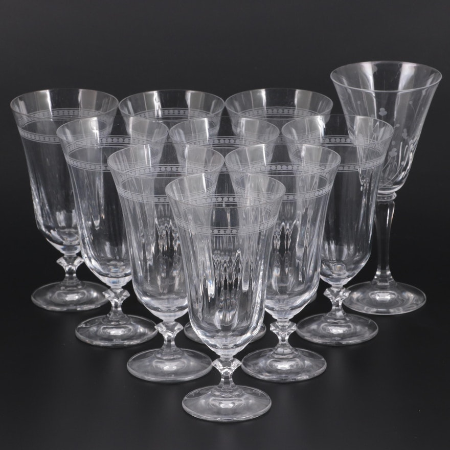 OC Bavaria Etched Crystal Water Goblets and Other Wine Glass