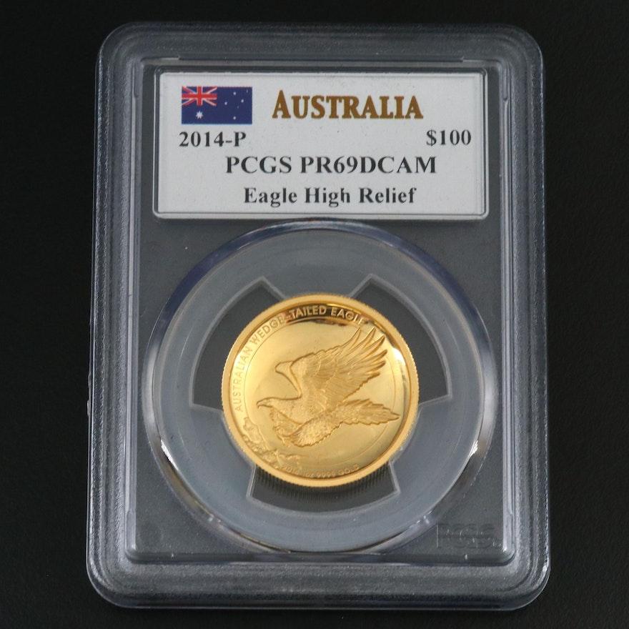PCGS Graded PR69DCAM 2014-P Australia Wedge-Tailed Eagle 1-Oz. Gold Coin