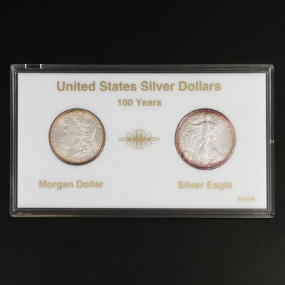 1897 Morgan Silver Dollar and 1997 $1 American Silver Eagle Bullion Coin