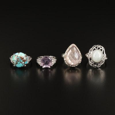 Sterling Amethyst, Rose Quartz and Gemstone Rings