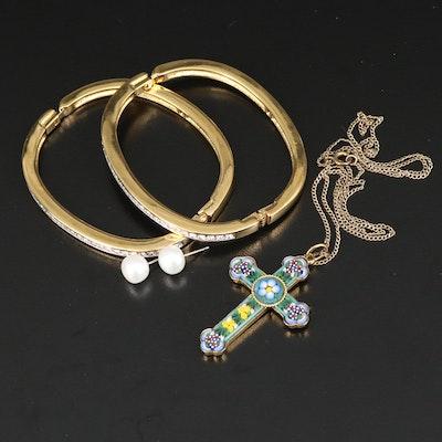 Jewelry Including Italian Micromosaic Cross Necklace and Swarovski Bangles