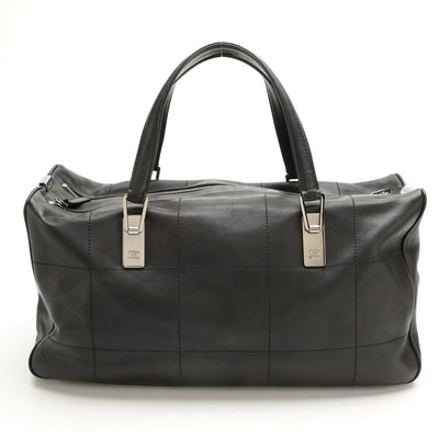 Chanel Chocolate Bar Black Lambskin Leather Boston Bag