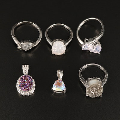 Sterling Rings and Pendants  Including Druzy, and Gemstones