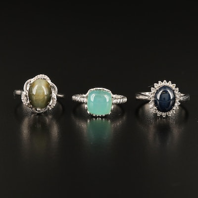 Sterling Rings Including Star Sapphire, Cat's Eye Quartz and Gemstone