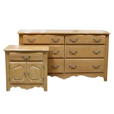 Ethan Allen Blonde Wood Dresser and Nightstand