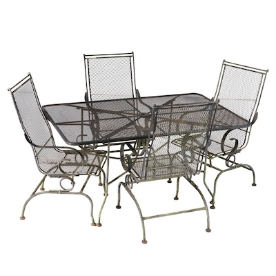 Cast Iron Wire Mesh Table and Rocker Chairs