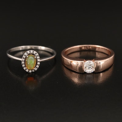 Sterling Rings Including Opal and Cubic Zirconia