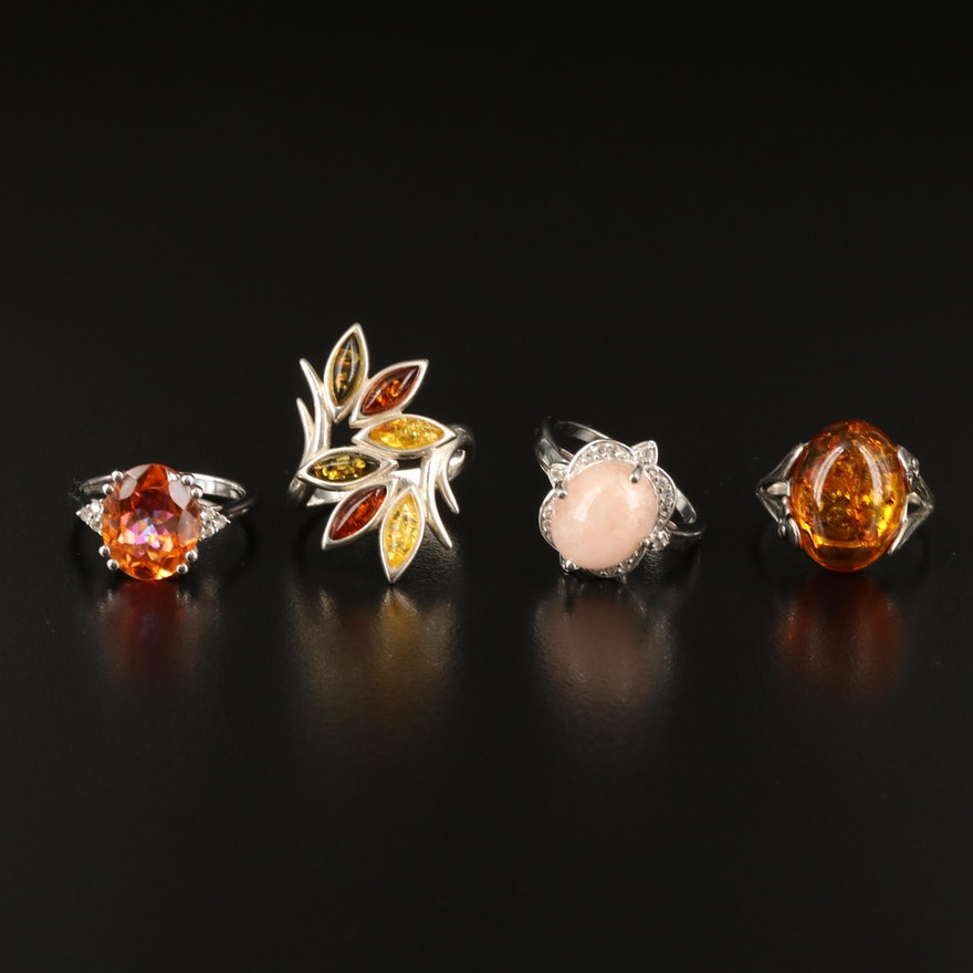 Sterling Amber, Quartzite and Gemstone Rings