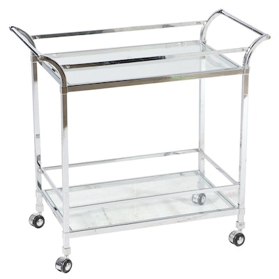 Modernist Style Chrome and Glass Two-Tier Serving Cart