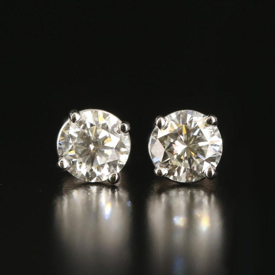 14K 1.13 CTW Diamond Stud Earrings with GIA eReports