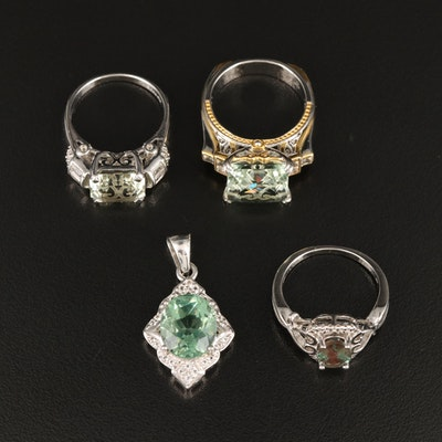 Sterling Rings and Pendant with Fluorite, Prasiolite and Gemstones