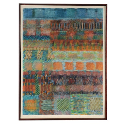 Abstract Geometric Pastel Drawing, Late 20th Century