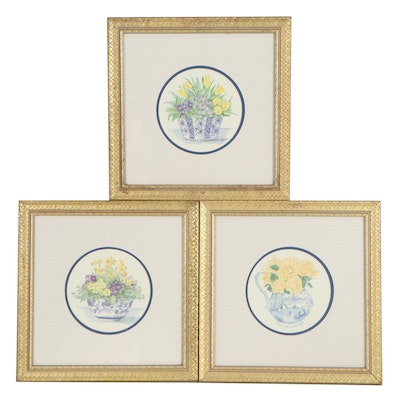 Floral Still Life Offset Lithographs After Angela Symondson, Late 20th Century