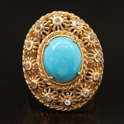 Sterling Turquoise and Sapphire Ring