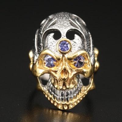 Sterling Tanzanite Skull Ring