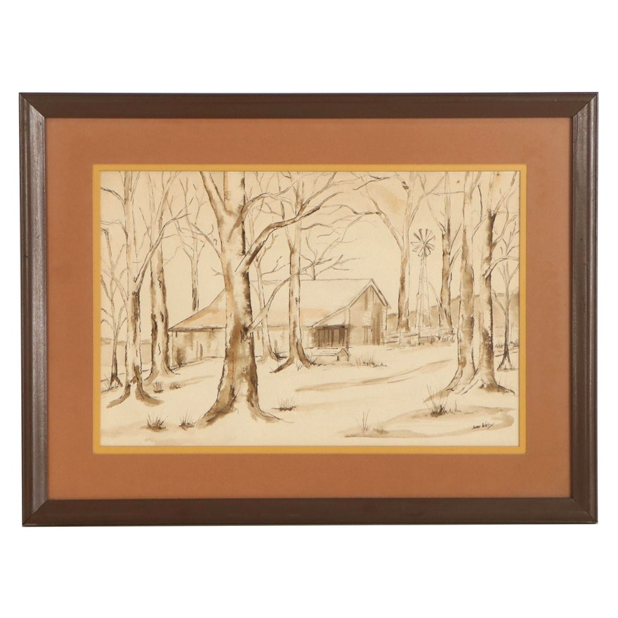 Joan Walley Watercolor Painting of Rural Landscape, Late 20th Century