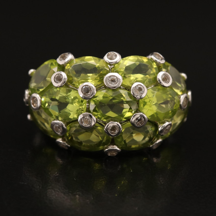 Sterling Peridot and Topaz Ring
