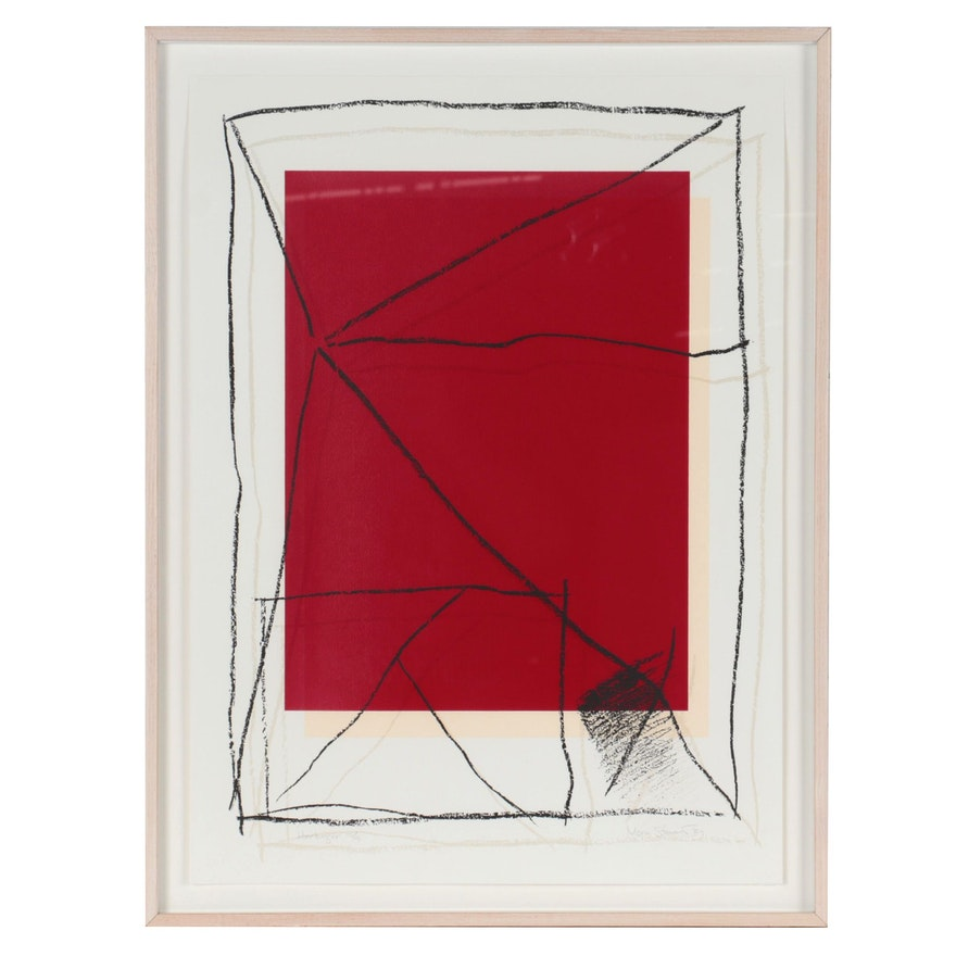 "Norman Stuart Abstract Serigraph ""Harbinger,"" 1989"