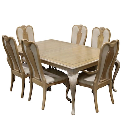 Bernhardt Queen Anne Style Blonde Wood Dining Table and Chairs