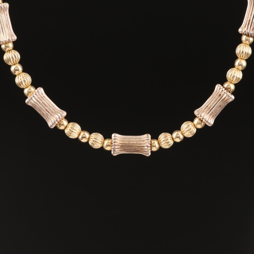 Sterling Beaded Chain Necklace with 14K Clasp
