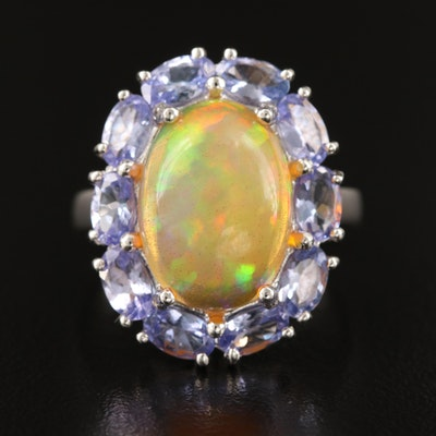 Sterling Opal and Tanzanite Ring