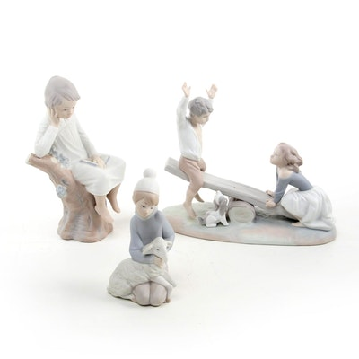 """Lladró """"Shepherd with Lamb,"""" """"Thinker Little Boy,"""" """"Seesaw"""" Porcelain Figurines"""