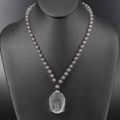 Rock Quartz Crystal Buddha Pendant and Glass Beaded Necklace