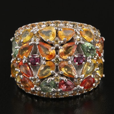 Sterling Sapphire and Rhodolite Garnet Cluster Ring
