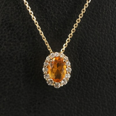 14K Citrine and Diamond Halo Pendant Necklace