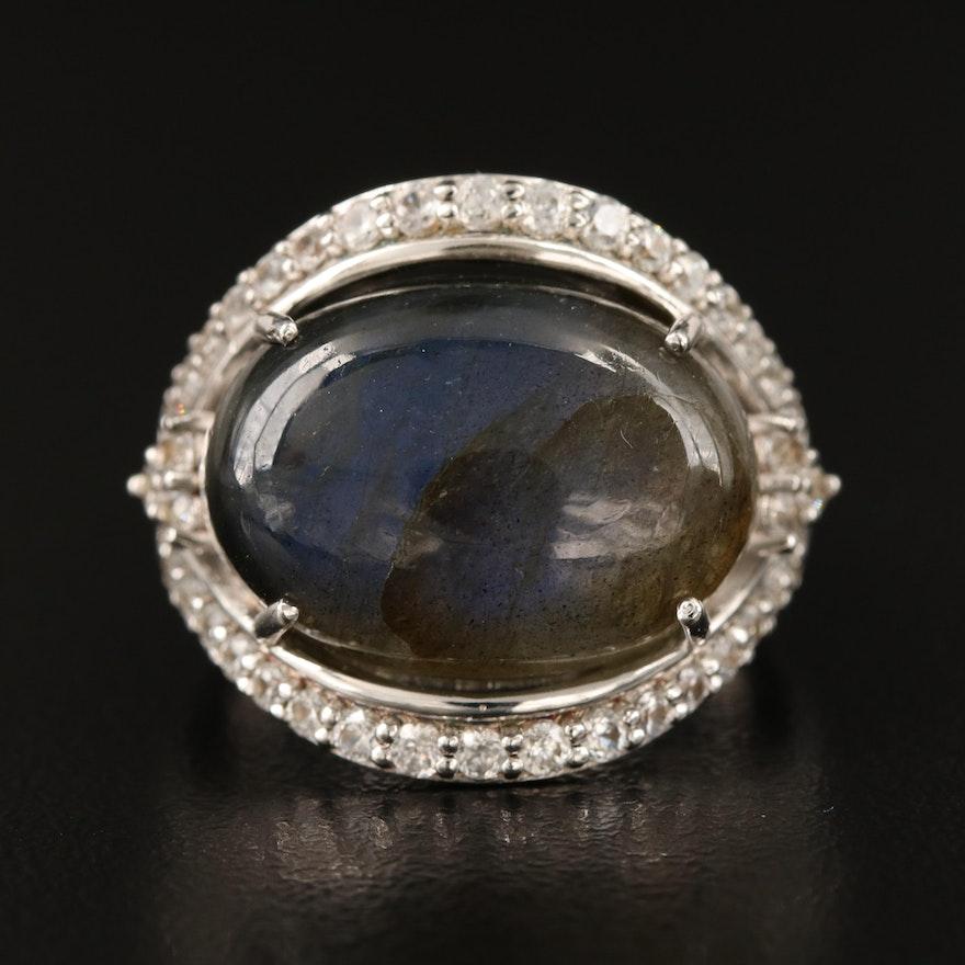 Sterling Labradorite and Zircon Ring