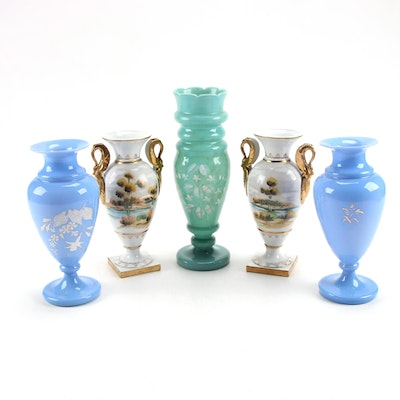 Victorian Green and Blue Bristol Glass and Other Hand-Painted Porcelain Vases