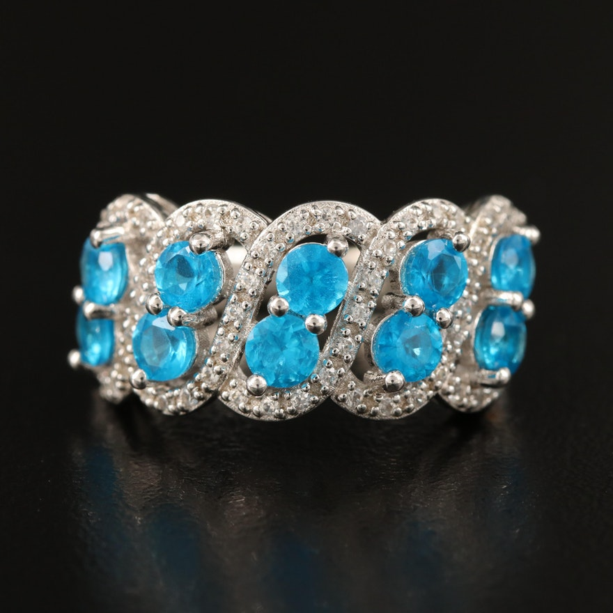 Sterling Apatite and Zircon Multi-Row Ring