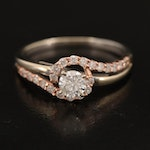 14K Diamond Ring with Rose Gold Accents
