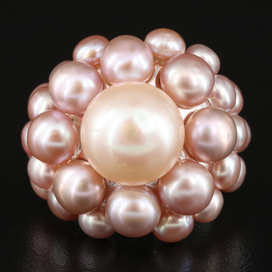 Sterling Pearl Cluster Ring
