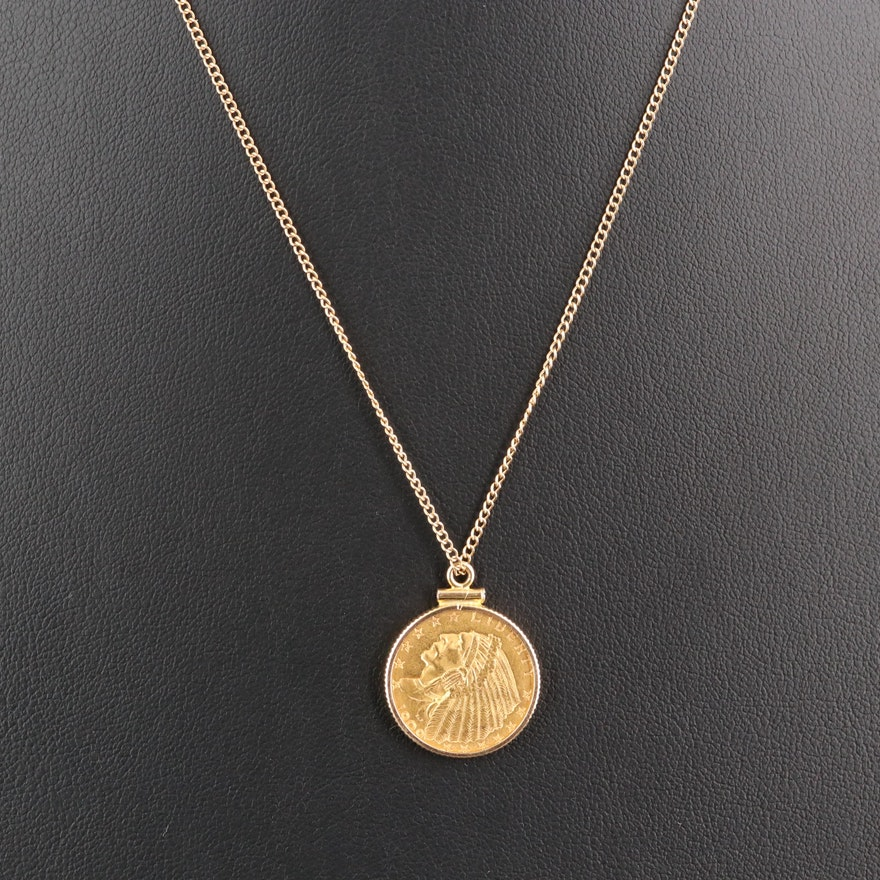 14K Bezel Necklace Holding 1909 Indian Head and Eagle Quarter