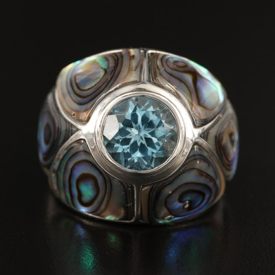 Sterling Topaz and Abalone Domed Ring