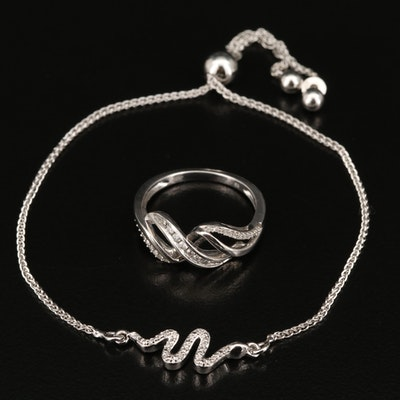 Sterling Diamond Snake Anklet and Crossover Ring