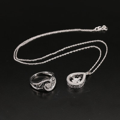 """Sterling Diamond Angel Tremble Pendant Necklace and """"Mom"""" Ring"""