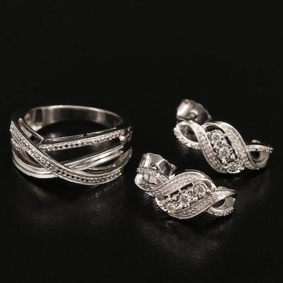 Sterling Silver Diamond J-Hoop Earrings and Crossover Ring